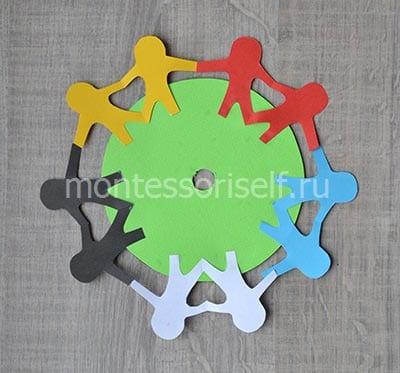Glue the circle and men