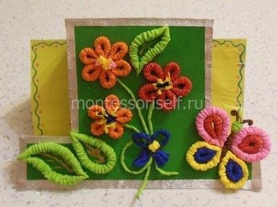 Цветки, лепестки, стебли, бантик, тело и головка бабочки
