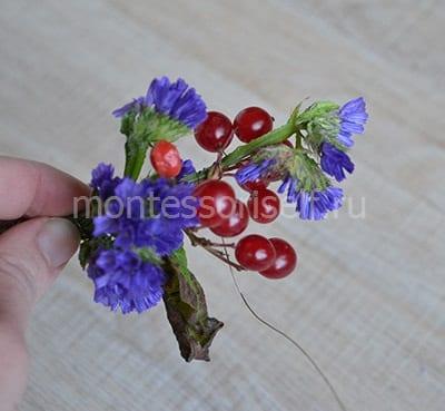 Цветы и ягодки для венка
