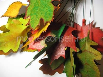 Крепим проволоку на всех листьях
