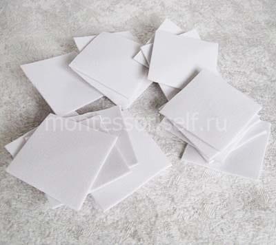 Квадратики из белого фоамирана