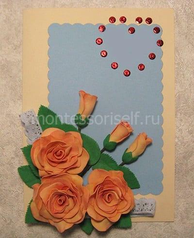 Приклеиваем розы