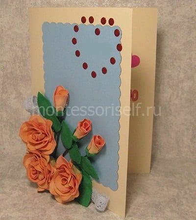 Объемная открытка с розами
