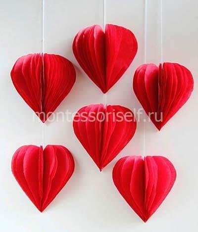 Многослойные валентинки из бумаги