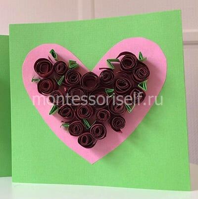 Открытка на День Святого Валентина с сердечком и розами