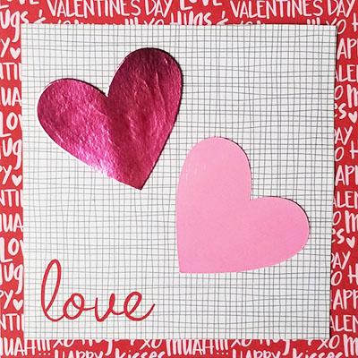 Валентинка скрапбукинг с сердечками