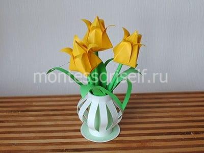 Цветы в вазе оригами