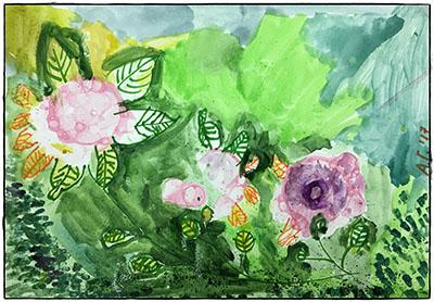 Весенние цветы - рисунок акварелью
