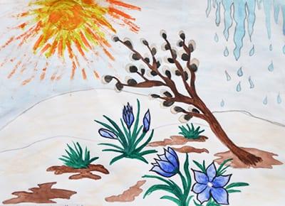 """Рисунок """"Весна, капель, верба и цветы"""""""