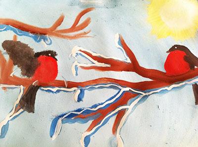"""Рисунок """"снегири и весенняя капель"""""""