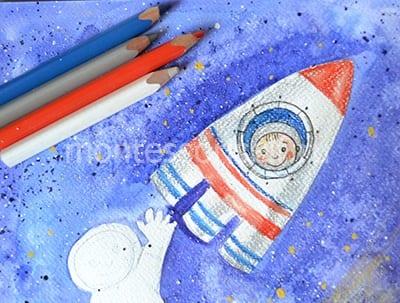 Раскрашиваем ракету и космонавта