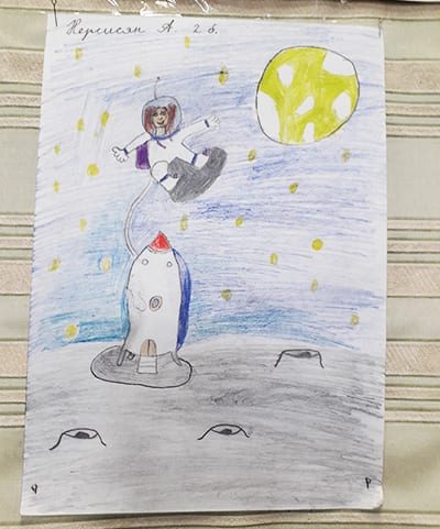 "Рисунок ""Человек на луне"" (карандаш)"