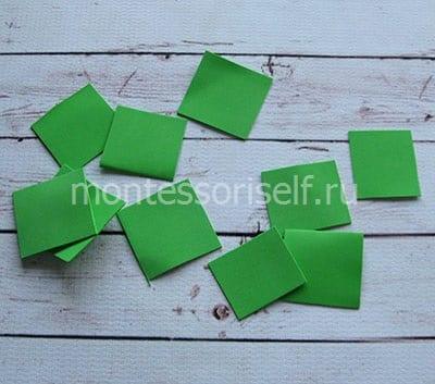 Квадраты из зеленого фоамирана
