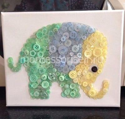 """Картина из пуговиц """"Слон"""""""