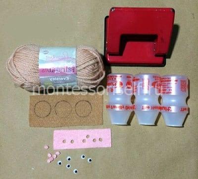 Материалы для изготовление свинки с нитками