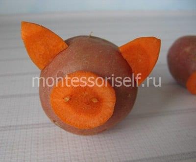Как сделать свинку из картошки