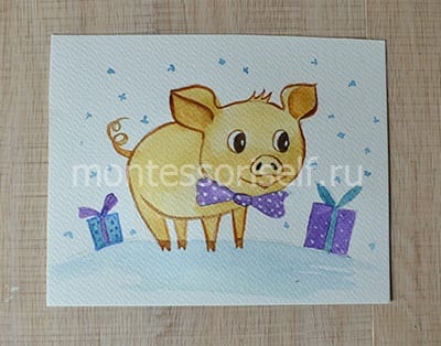 Рисунок свинья карандашом и красками