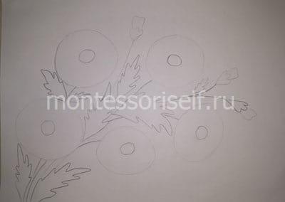 Набросок рисунка карандашом