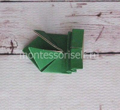 l18 Лягушка оригами из бумаги (которая прыгает): схема сборки для детей