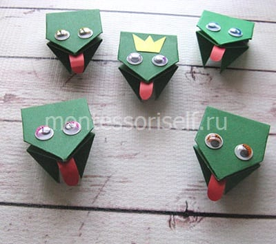 l22 Лягушка оригами из бумаги (которая прыгает): схема сборки для детей