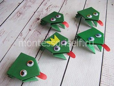 l23 Лягушка оригами из бумаги (которая прыгает): схема сборки для детей