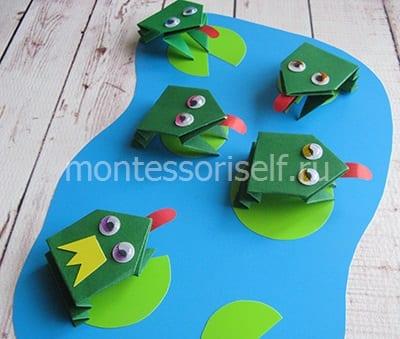 l41 Лягушка оригами из бумаги (которая прыгает): схема сборки для детей