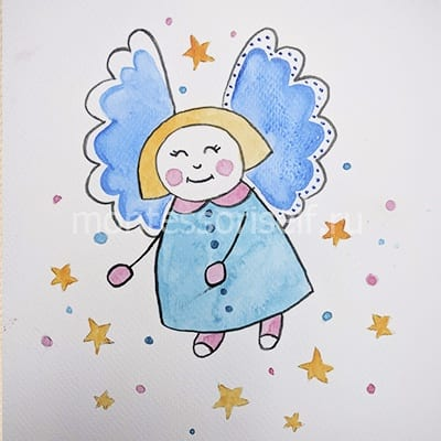 Ангелочек рисунок красками