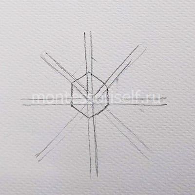 Шестиугольник в центре