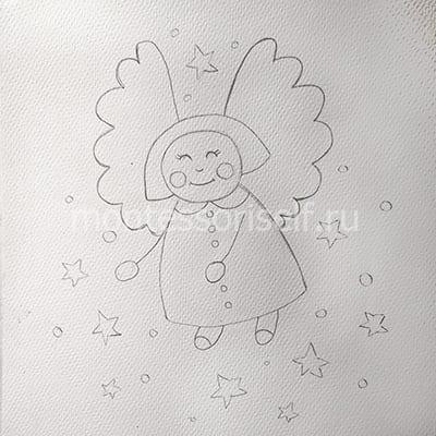 Ангелочек рисунок карандашом