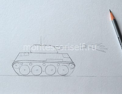 Рисуем дуло, гусеницы и детали на корпусе танка