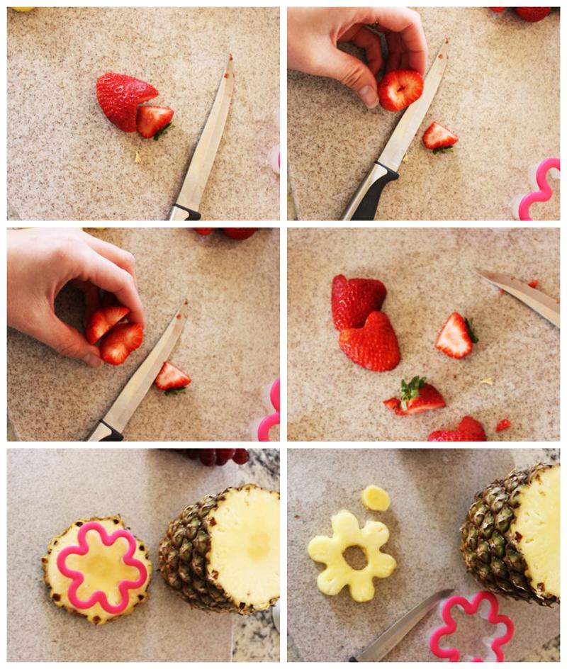 Нарезаем клубнику и ананас