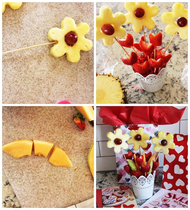 Букет из фруктов с ананасами и клубникой