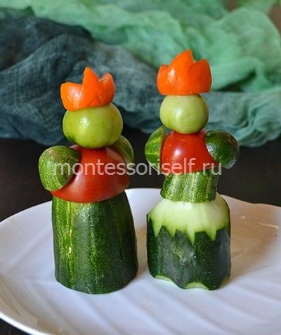 Осенняя королевская пара из огурцов и помидоров
