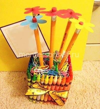 Цветы из карандашей в подарок
