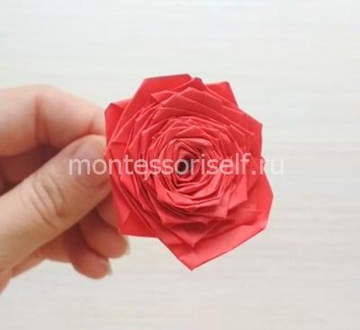 Розочка оригами из бумаги