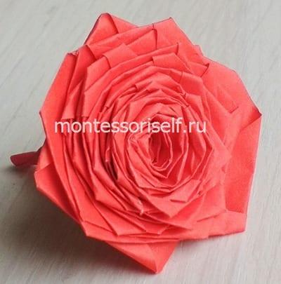 Роза из бумаги в технике оригами