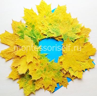 Обклеиваем основу листьями