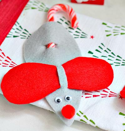 Мышь из фетра, бумаги и конфеты