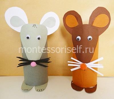 Мышки из картонного рулона