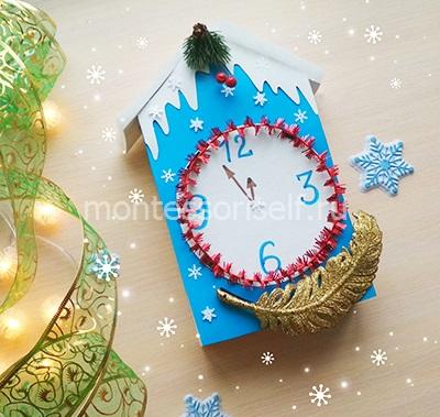 Поделка новогодние часы в детский сад