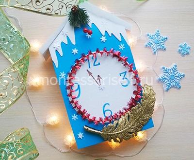 Поделка новогодние часы в садик