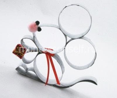Мышь из картона (картонного рулона)
