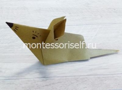 Мышь оригами из бумаги для детей