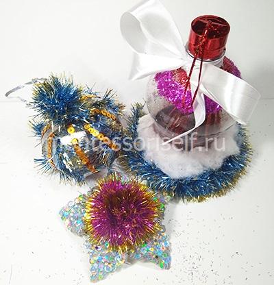 Новогодние поделки из пластиковых бутылок