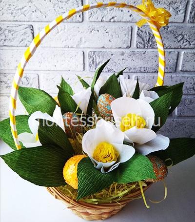 Пасхальная корзинка с яйцами и цветами 1