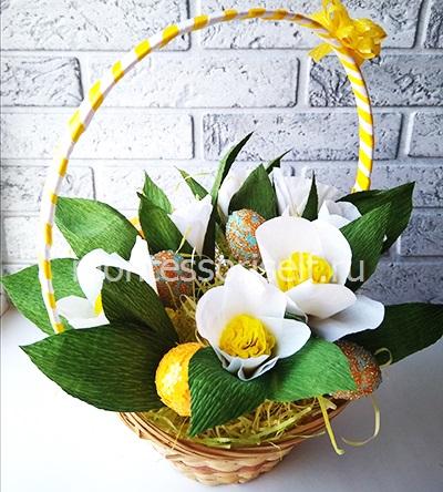 Пасхальная корзинка с яйцами и цветами 2
