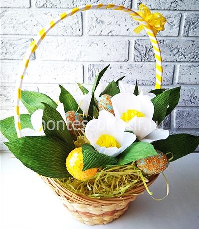 Пасхальная корзинка с яйцами и цветами 3