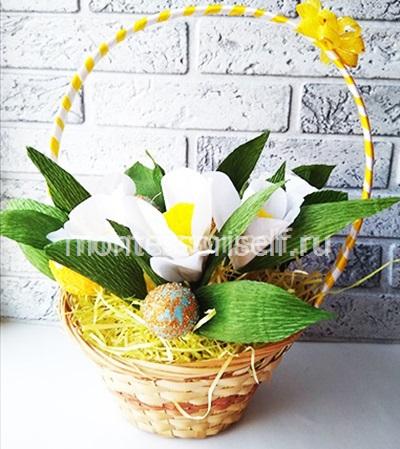 Пасхальная корзинка с яйцами и цветами 4