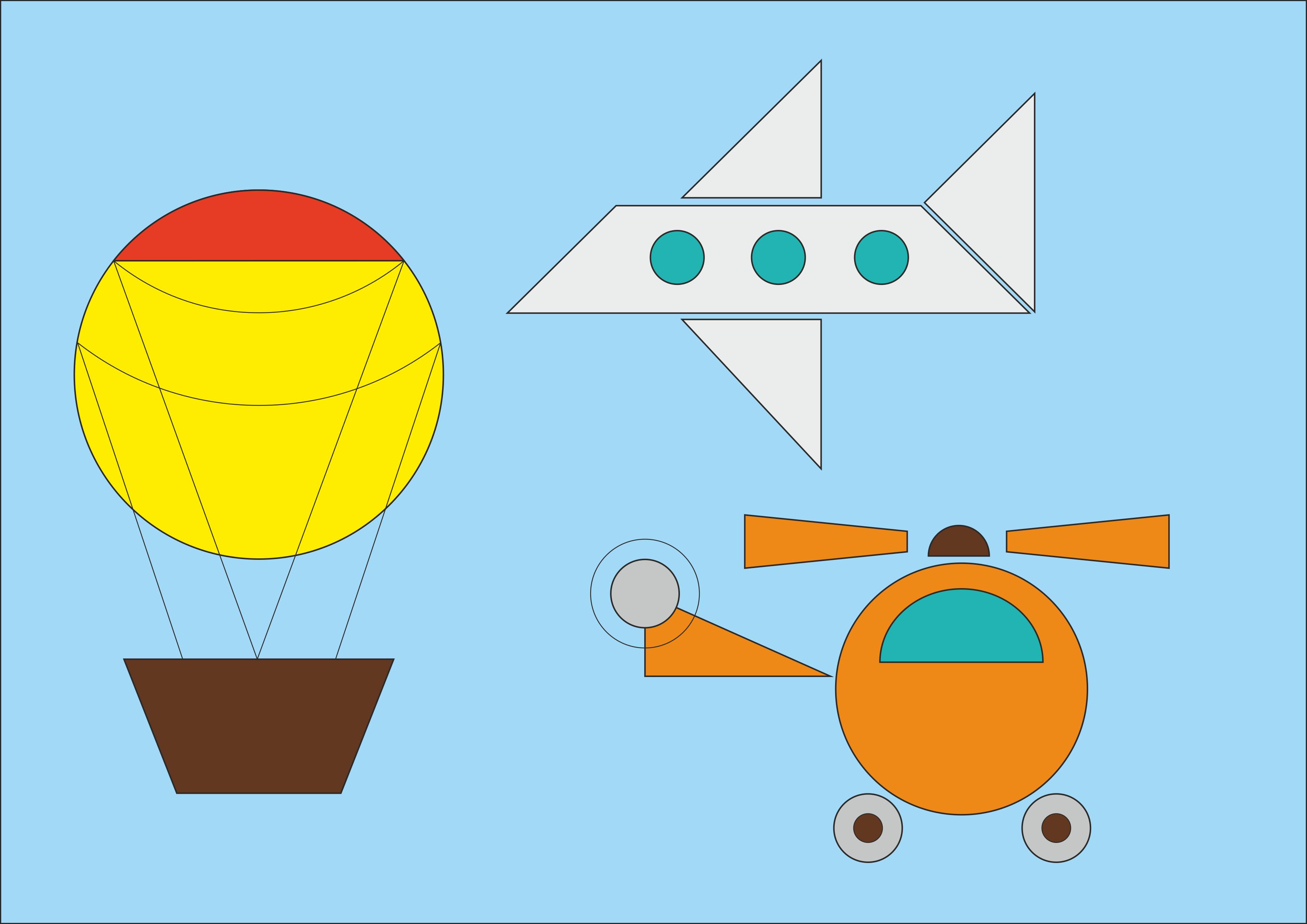 """Рисунок """"Воздушный транспорт из геометрических фигур"""""""