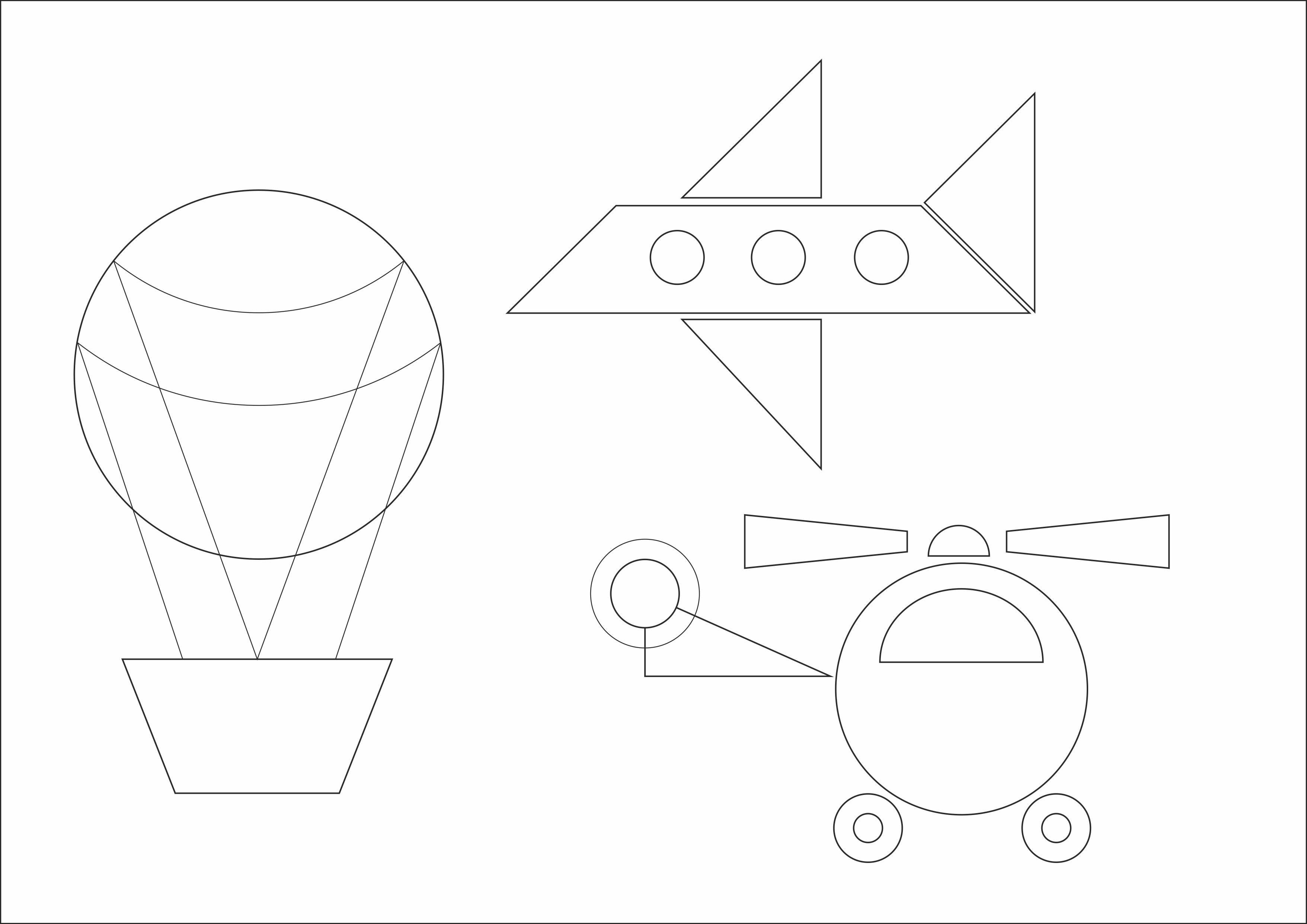"""Раскраска """"Воздушный транспорт из геометрических фигур"""""""